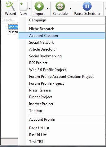 Account Creation (SenukeX) - krok 1 - new account