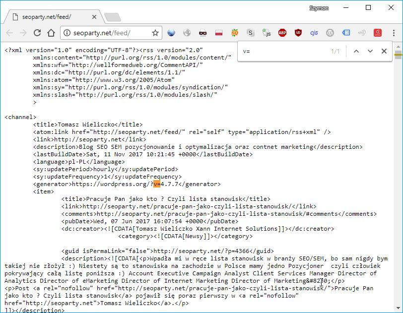Seoparty.net-informacje-o-wersji-wordpressa-w-kanałach-rss